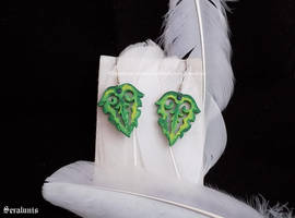 'Wooden leaves', handmade earrings by seralune