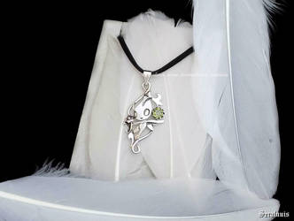 'Celebi with peridote', sterling silver pendant by seralune