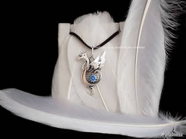 'Snow Dragon' handmade sterling silver pendant by seralune