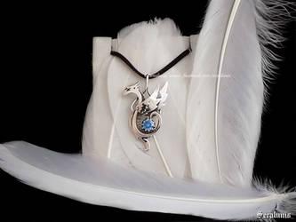 'Snow Dragon' handmade sterling silver pendant by seralune