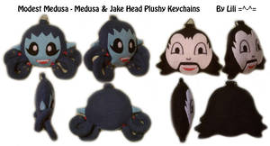 Medusa and Jake Head Plush Keychains by LiliNeko