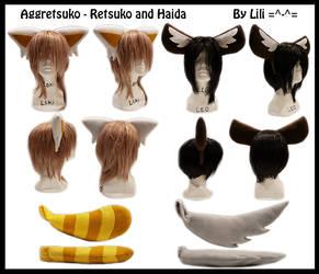 Aggretsuko-Retsuko and Haida Headbands and Tails by LiliNeko