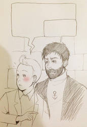 Tintin and Captain Haddock Sketch by bluehippopo