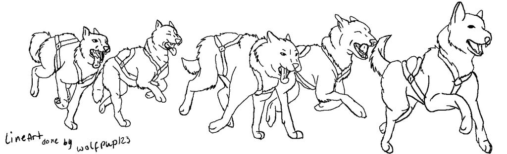Wolfdog Running Base Or Sled Raceing Ms Paint By Wolfpup123 On