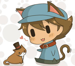 Prof. Layton and the Curious Kitty by ChibiArmin