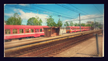 Waiting for the train in Halle, Belgium by longrider1952
