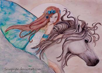 Flight of the Blue Fairy - watercolor - by SeaSpryte