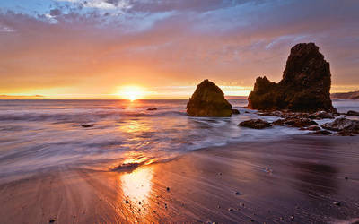 Rodeo Beach rocks and sunset by nathanspotts