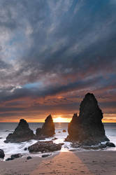 Rodeo Beach rocks and sunset 2 by nathanspotts