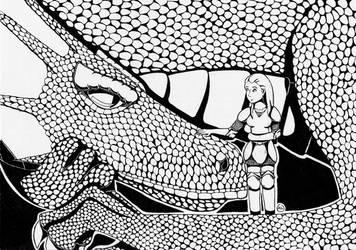 A dragon and a warrior by Fuffe-Tuff