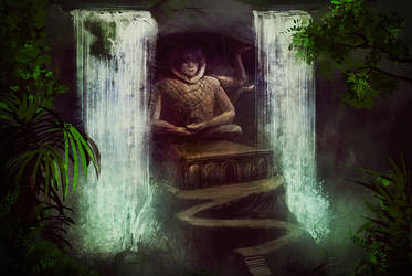 Waterfall temple by eilidh