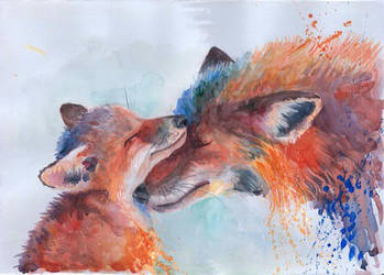 foxes, watercolor by Marie-Mazur