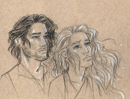 Eowyn and Faramir in the Houses of Healing by oboe-wan