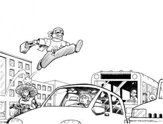 Ninja Leaping Over Traffic by avary