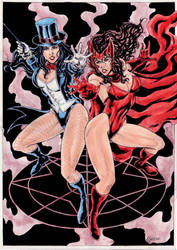 Zatanna and Scarlet Witch by gregohq