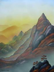 Sunset at Tengutake by martoo1973