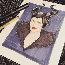 Inktober #12 - Maleficent by Amanda-Lara1996