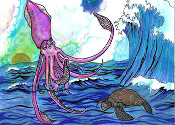 Gigant and Magic Squid by b0dom