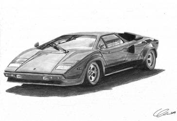 Lamborghini Countach pencil drawing  by xRINAGEx
