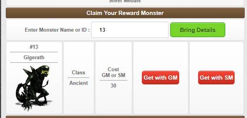 Reward Monster Interface by MonsterMMORPG