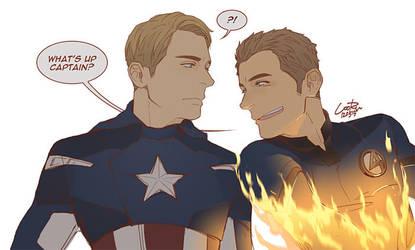 Captain America n Human Torch by cooru58