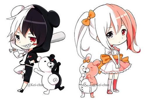 Monokuma and Monomi chibi keychain by Keichan411