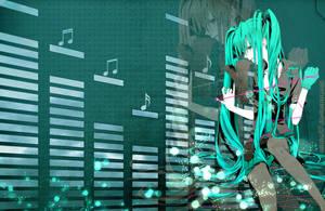 Miku's music wallpaper by Mitche27