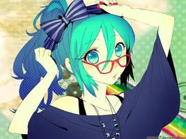 glasses cutie miku wallpaper by Mitche27