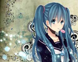 schoolgirl miku wallpaper by Mitche27
