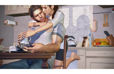 Lara Croft and Chris Redfield - Morning Coffee I by raccooncitizen