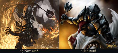 Fiery Knight (3 Years' Improvement) by Yacrical