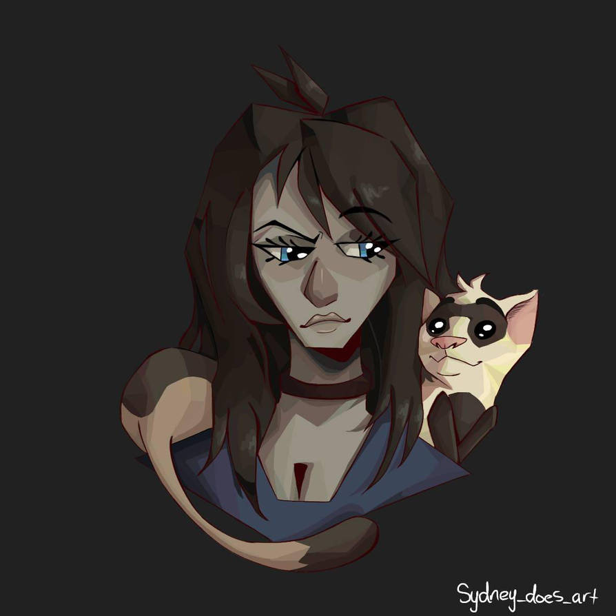 A girl and her ferret by XxCocoTheTigerxX