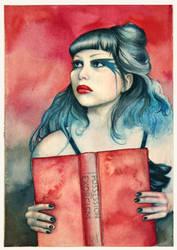 reading girl by coffeeChihuahua