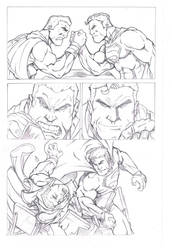 Superman versus Captain Marvel - Armwrestling! by bodhiguy