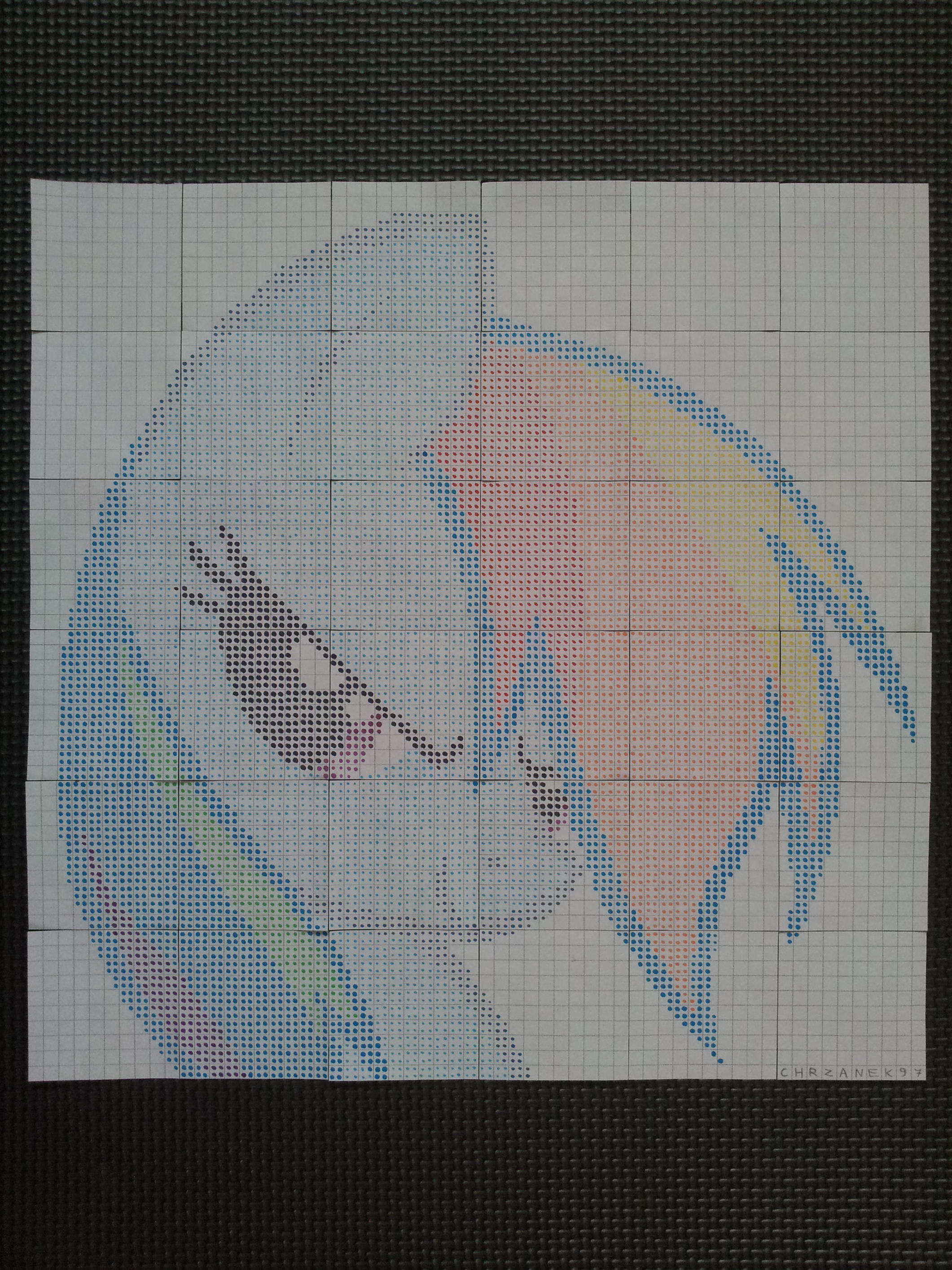 Rainbow Dash portrait (DotWork) by Chrzanek97
