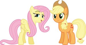 Fluttershy and Applejack (Vector) by Chrzanek97