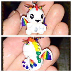 Chibi Rainbow Dragon Charm by LittleCLUUs