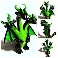Black and Bright Green Hydra by LittleCLUUs