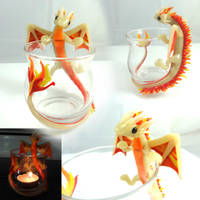 Fire Dragon Candle holder by LittleCLUUs
