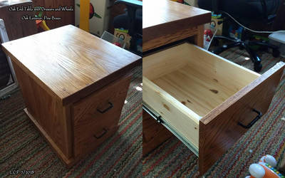 Oak End Table with Drawers by Sathiest-Emperor