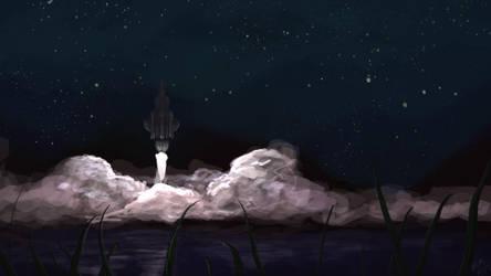 Ship Lifting Off At Night by evilhedgehog2011