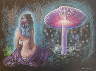 Purple Haired Girl and Big Mushroom by Joshua-Mozes