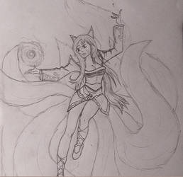 Ahri Sketch by Veeroniquee