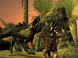 Ceratosaurus versus Kenrosaurus by android65mar