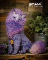 Fantasy purple Cat poseable art doll by Furrykami-creatures