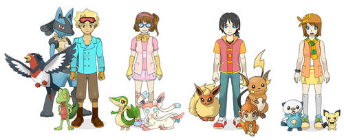 Rion and Friends in Pokemon Part B by StarRion20