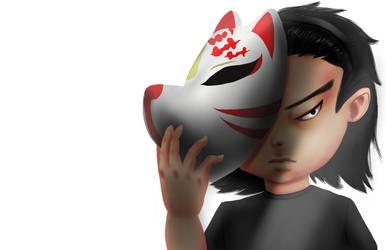 Johnny and Kitsune Mask by johnnydwicked