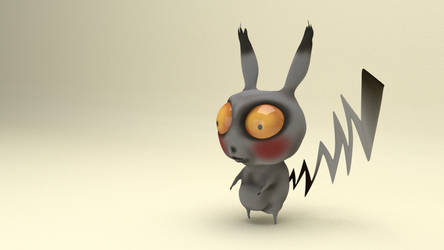 Pikachu in Tim Burton Style Blender Sculpt by johnnydwicked