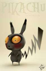 Pikachu in Tim Burton Style Blender Sculpt 01b by johnnydwicked