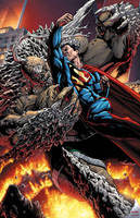 Superman vs Doomsday by BlondTheColorist